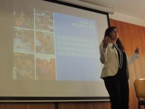 María Inés Salamanca, responsable de ONU Mujeres en Chile, durante su intervención.
